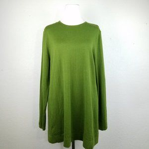 J.Jill Women sweater top Size L green knit EUC lon